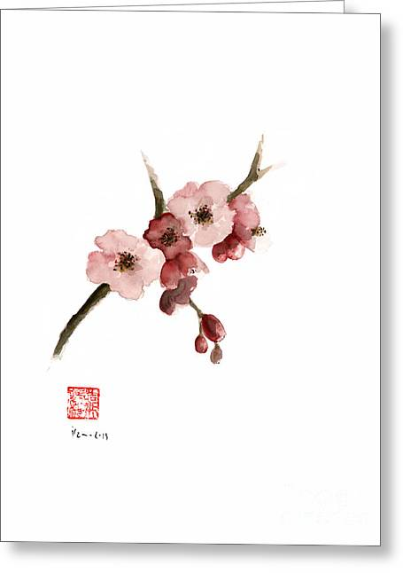 Cherry Blossom Sakura  Pink Tree Delicate White Flower Flowers Branch Watercolor Painting Greeting Card by Johana Szmerdt