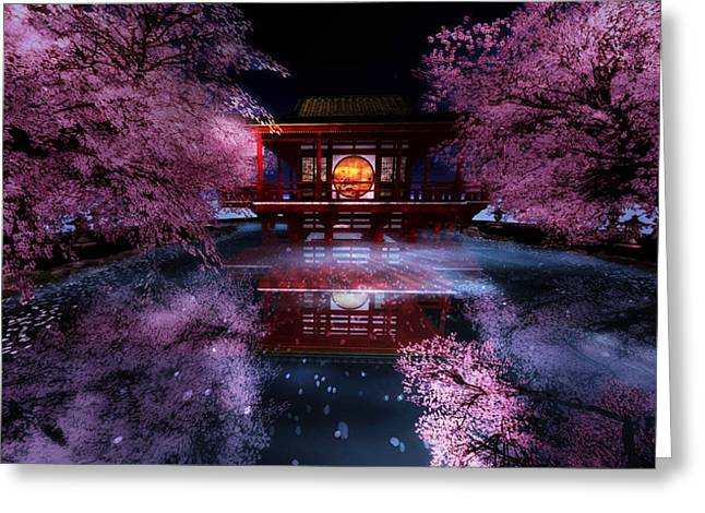 Cherry Blossom Tea House Greeting Card
