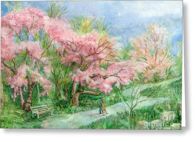 Cherry Blossom Walk Greeting Card