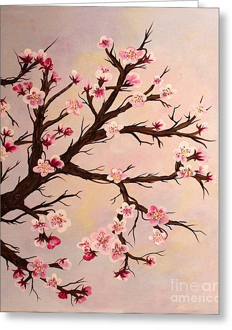 Cherry Blossoms 2 Greeting Card by Barbara Griffin
