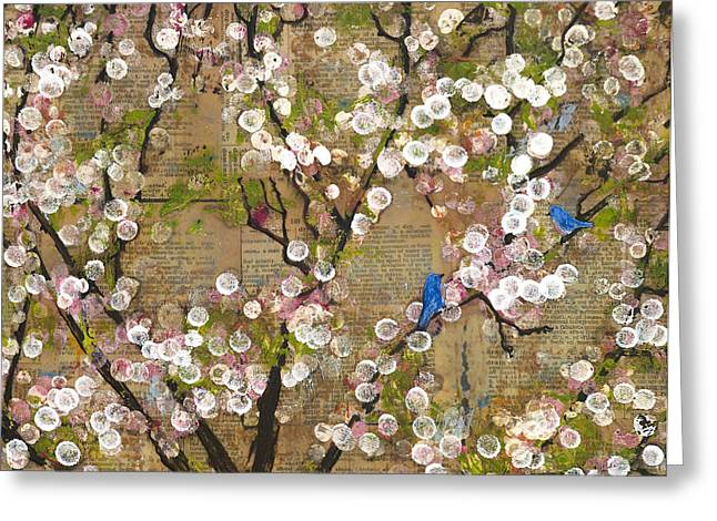 Cherry Blossoms And Blue Birds Greeting Card