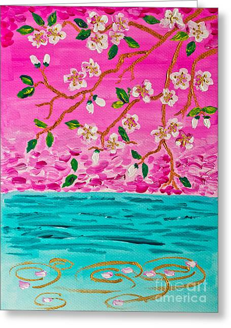 Cherry Blossoms Branch With Water Ripples Acrylic Painting Greeting Card by Beverly Claire Kaiya