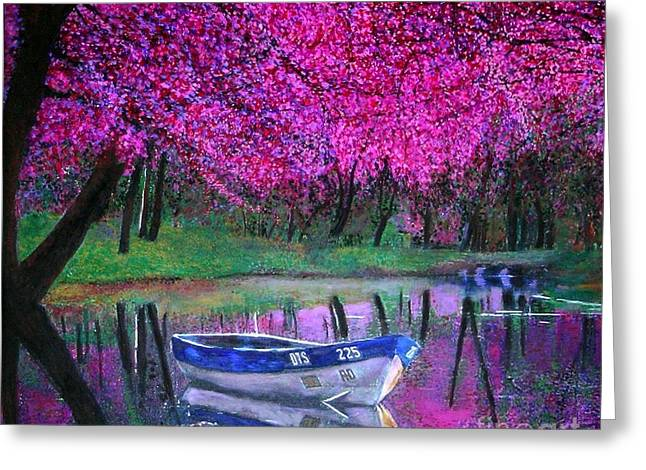 Cherry Blossoms By The Lake Greeting Card