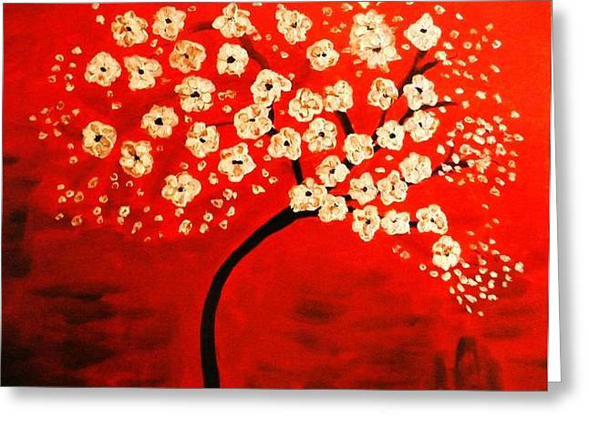 Cherry Blossoms Greeting Card by Shelia Gallaher Chancey