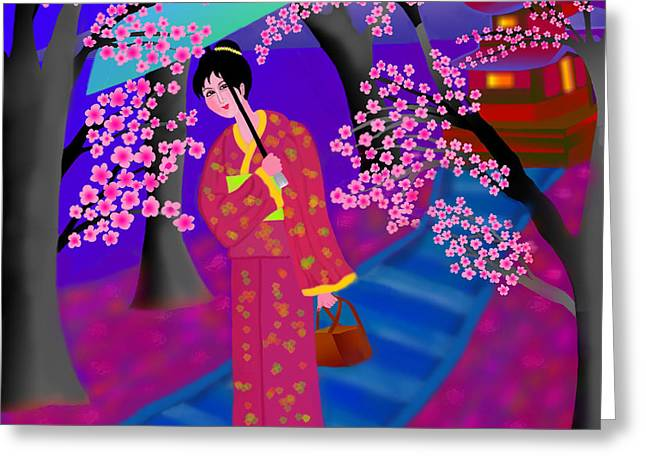 Cherry Blossoms Greeting Card by Latha Gokuldas Panicker