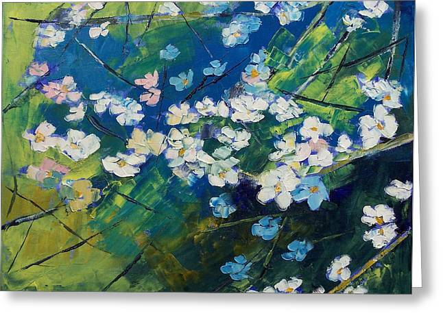 Cherry Blossoms Greeting Card by Michael Creese
