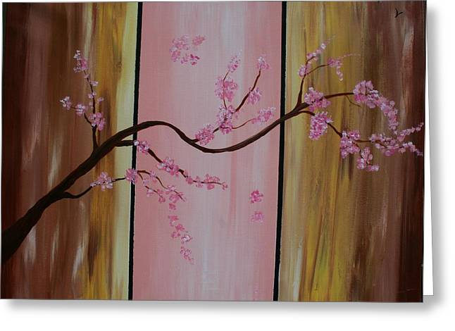 Cherry Blossoms Greeting Card by Monica Art-Shack