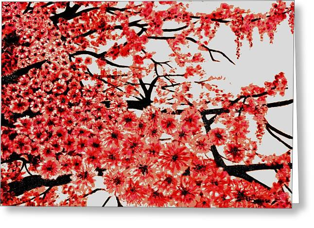 Cherry Blossoms Greeting Card by Victoria Rhodehouse