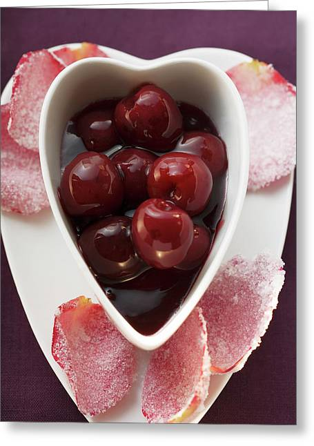 Cherry Compote And Sugared Rose Petals Greeting Card