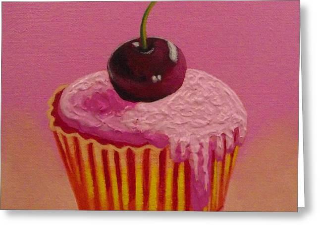 Cherry Cupcake Greeting Card by John  Nolan
