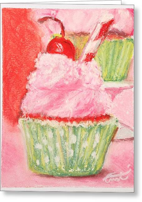 Cherry Limeade Cupcake Greeting Card