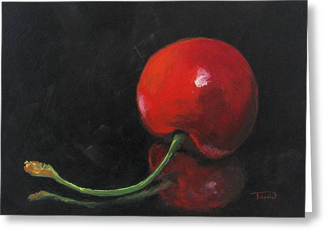 Cherry On Black Greeting Card by Torrie Smiley