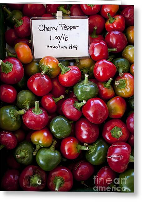 Cherry Peppers Greeting Card by Janice Rae Pariza