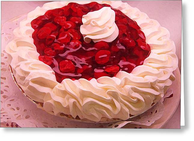 Cherry Pie With  Whip Cream Greeting Card by Amy Vangsgard