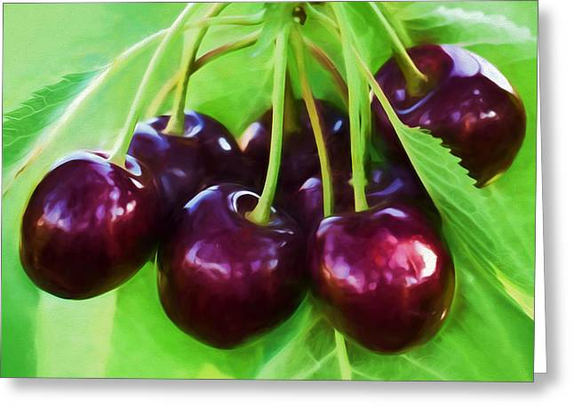 Cherry Ripe Delight Greeting Card by Georgiana Romanovna