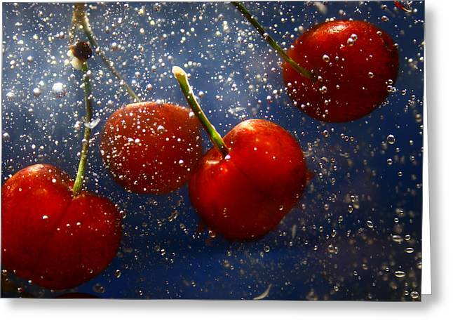 Greeting Card featuring the photograph Cherry Splash by Paula Brown