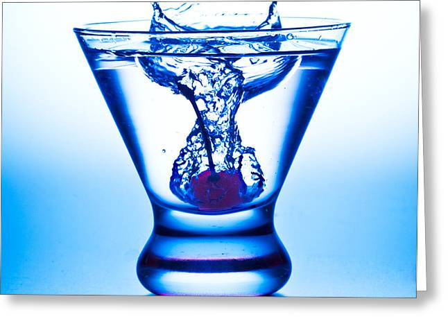 Cherry Splash With Blue Over-tones Greeting Card