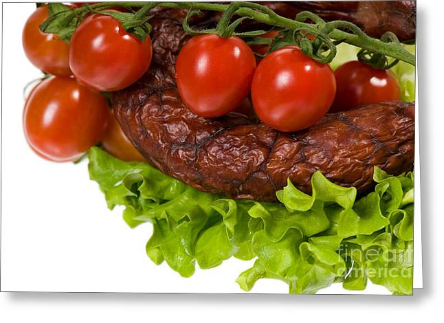 Sausage With Lettuce And Cherry Tomato  Greeting Card