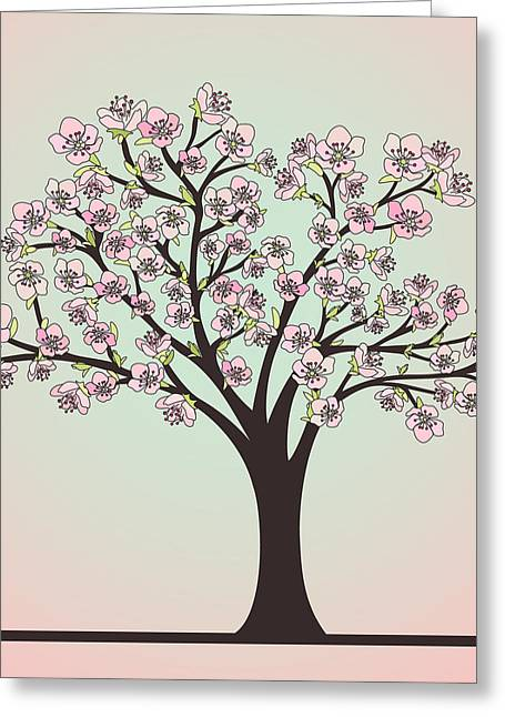 Cherry Tree With Blossoms Greeting Card by Olivera Antic