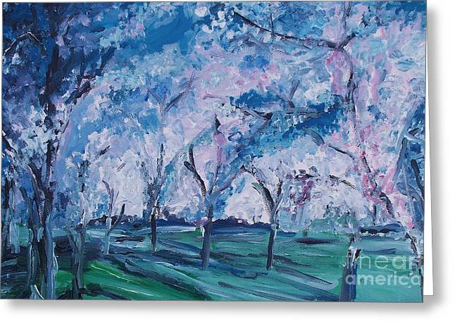 Cherry Trees Impressionism Greeting Card by Eric  Schiabor