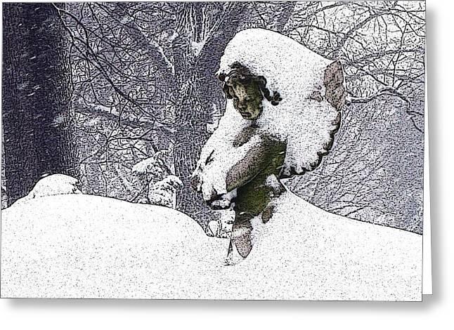 Cherub Of The Blizzard Greeting Card by Teak  Bird