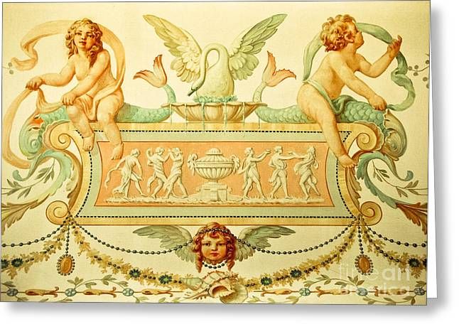 Cherubs By A Fountain Greeting Card by Colleen Kammerer