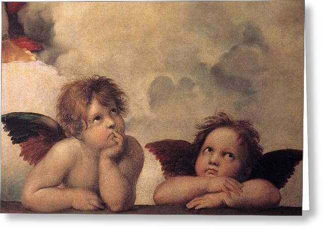 Cherubs On The Sistine Chapel Greeting Card by Raphael