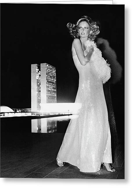 Cheryl Tiegs Wearing A Halston Evening Gown Greeting Card