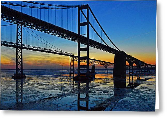 Chesapeake Bay Bridge Reflections Greeting Card by Bill Swartwout