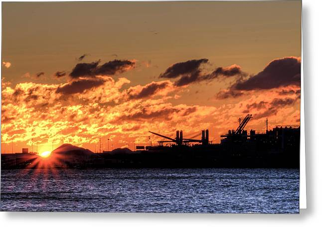 Chesapeake Bay Sunrise Over Baltimore Greeting Card