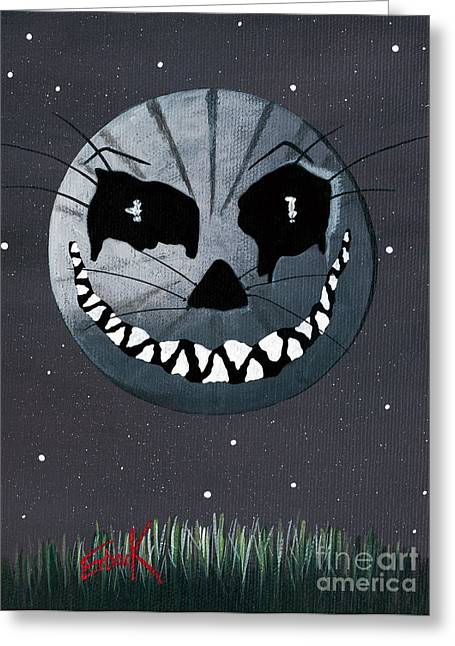 Alice In Wonderland Artwork - Cheshire Moon Greeting Card by Shawna Erback