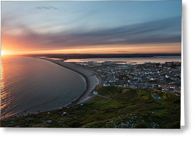 Chesil Beach Sunset  Greeting Card by Ollie Taylor