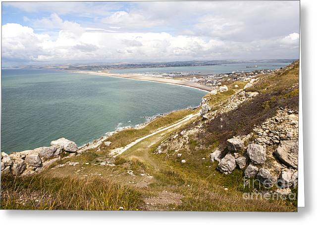 Chesil Beach With Weymouth Harbour Beyond Isle Of Portland Dorset England Greeting Card
