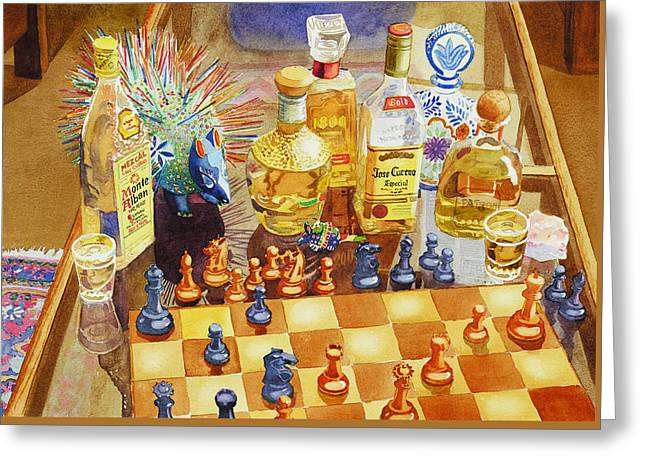 Chess And Tequila Greeting Card