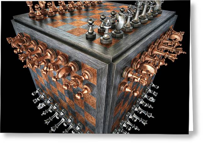 Chess Board In A Cube Shape Greeting Card by Ktsdesign