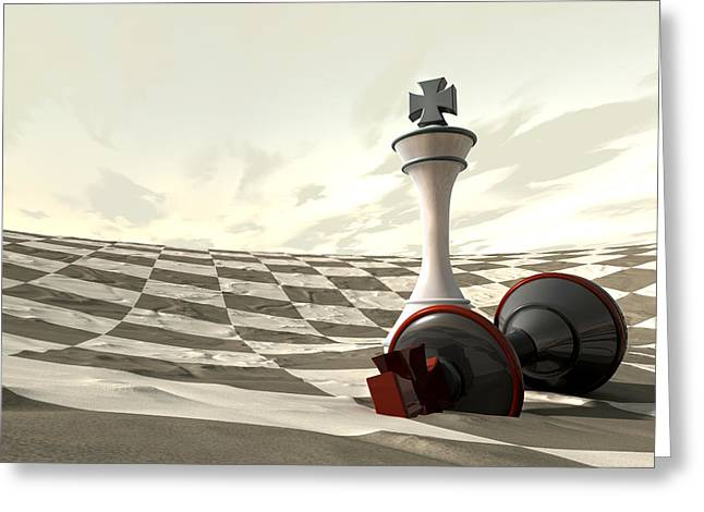 Chess Desert Game Over Greeting Card by Allan Swart
