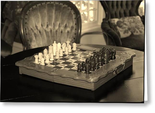 Chess Game Greeting Card by Cynthia Guinn