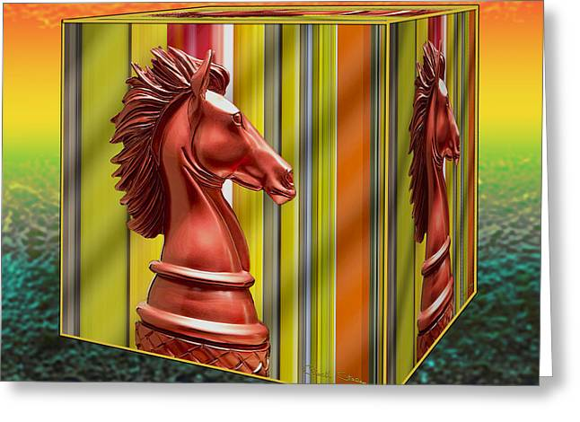 Chess - Knight On A Cube Greeting Card by Chuck Staley