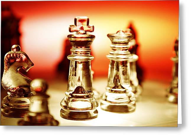 Chess Greeting Card by Les Cunliffe