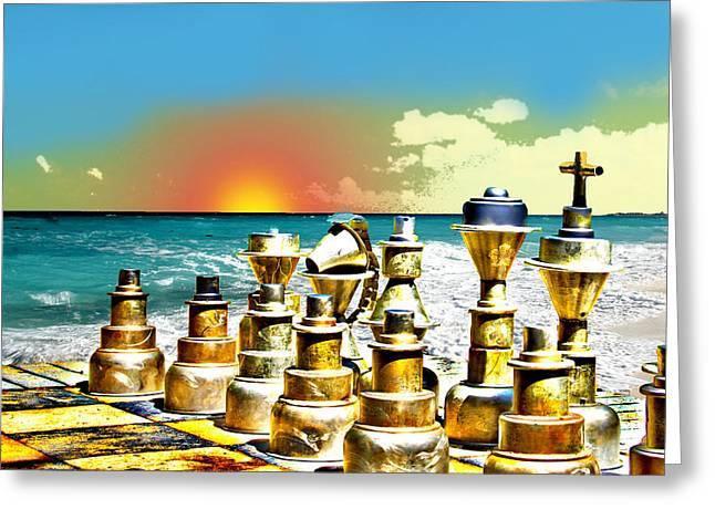 Chess On Beach Greeting Card by Frank Savarese