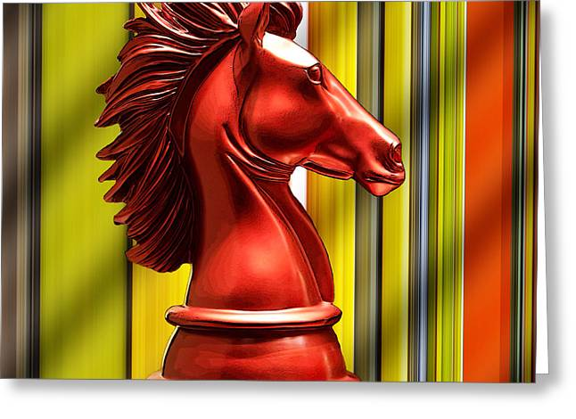 Chess Piece - Knight Greeting Card by Chuck Staley