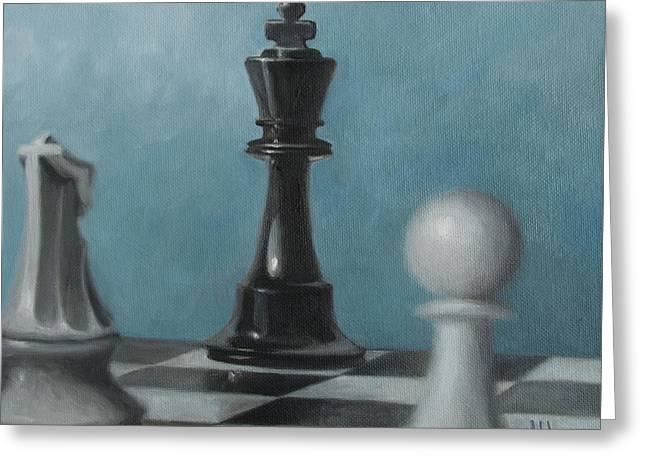 Greeting Card featuring the painting Chess Pieces by Joe Winkler