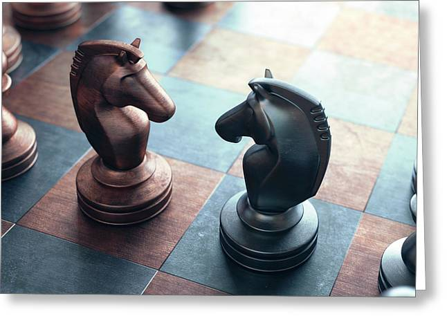 Chess Pieces On A Chess Board Greeting Card by Ktsdesign