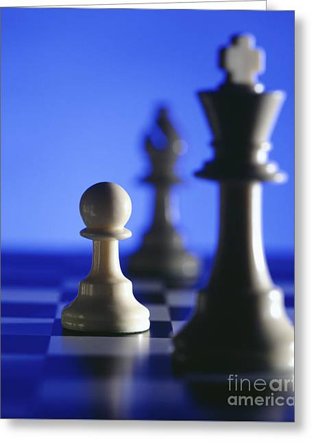 Chess Pieces Greeting Card by Tony Cordoza