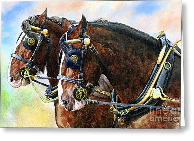Chestnut Shire Horses Greeting Card by Anthony Forster