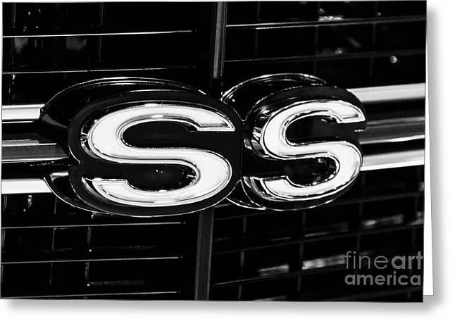 Chevelle Ss Super Sport Emblem Black And White Picture Greeting Card by Paul Velgos