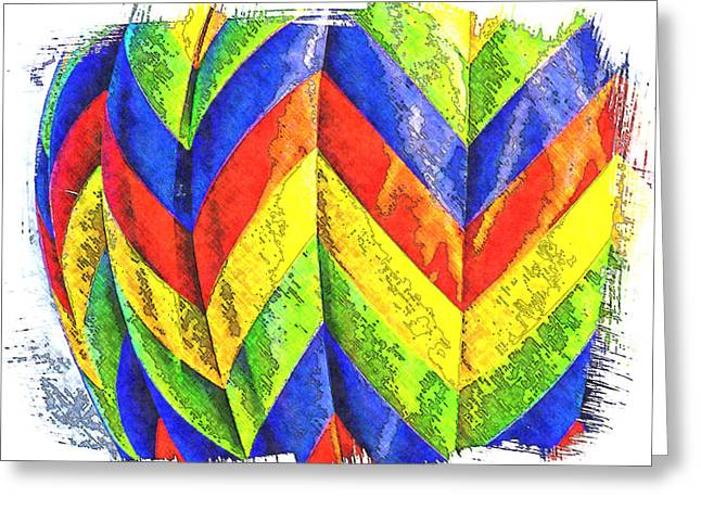 Chevons Of Color Greeting Card by Ken Evans