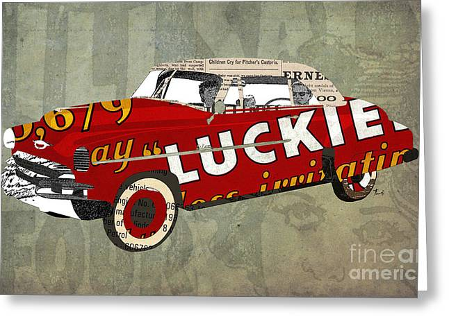 Chevrolet Bel Air 1950 And Luckies Ad Greeting Card
