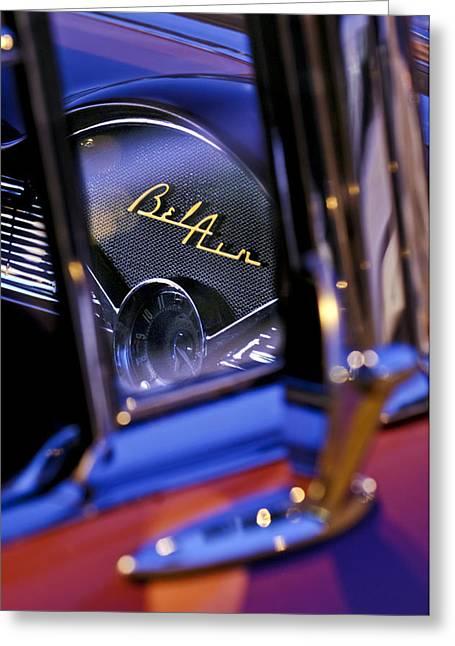 Chevrolet Belair Dash Board Emblem -754c Greeting Card by Jill Reger