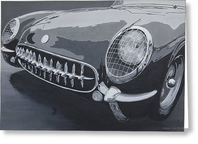 Greeting Card featuring the painting Chevrolet Corvette 1954 by Anna Ruzsan